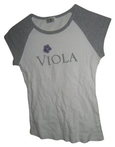 SOHO Beauty Viola T-shirt Cotton T Shirt white and gray