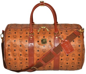 MCM Modern Creation Munich Modern Creation Munchen Made In Germany German Designer Visetos Visetos Monogram Monogram Gym Cognac Brown Travel Bag