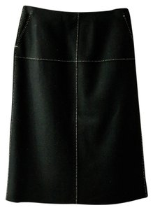 J.Crew Knee Length Wool Skirt Black with white stitching