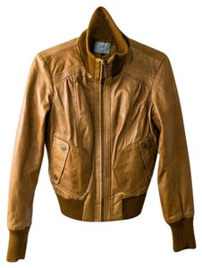 Oasis Cropped Brown Leather Jacket