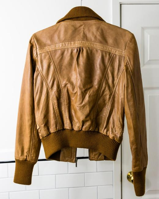 Oasis Cropped Brown Leather Jacket Image 1
