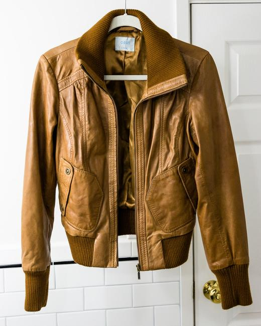 Oasis Cropped Brown Leather Jacket Image 2