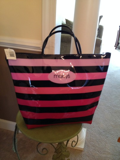 Macy's Vinyl Large Tote in Shades of pink with Black