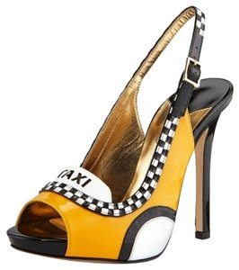 Kate Spade Taxi New York City Patent Leather Yellow Black Peep Toe Stilletto Sling Back Funky Taxi Cab Cab Fun Theme Taxi Theme Lbd Taxi Yellow Pumps