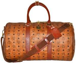MCM Modern Creation Munich Modern Creation Munchen Visetos Visetos Visetos Pattern Monogram Monogram Pattern Pattern Cognac Brown Travel Bag