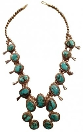 Preload https://item2.tradesy.com/images/turquoise-and-sterling-silver-squash-blossom-navajo-necklace-38951-0-0.jpg?width=440&height=440