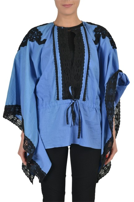 Preload https://img-static.tradesy.com/item/3895213/just-cavalli-blue-lace-trimmed-women-s-loose-blouse-tunic-size-4-s-0-0-650-650.jpg