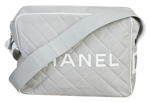 Chanel Quilted Jumbo Gray Messenger Bag