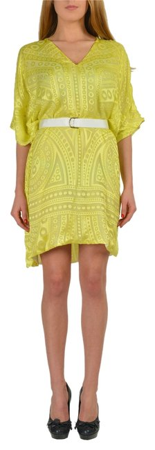 Preload https://img-static.tradesy.com/item/3895621/just-cavalli-yellow-silk-dolman-sleeves-women-s-belted-shift-short-casual-dress-size-4-s-0-0-650-650.jpg