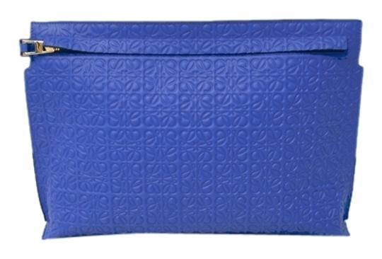 Loewe Large Pouch Stock07050 Blue Clutch