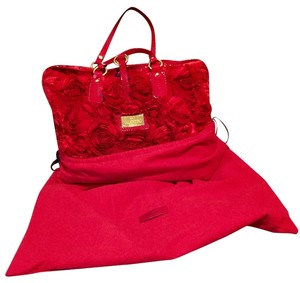 Valentino Perfect Condition Couture Satin Very Rare Tote in Red Rosesettes