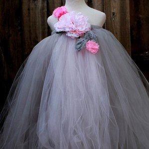 Custom Made Grey Flower Girl Dress - Pink Grey Birthday Party Dress - Grey Pink Flower Dress - Grey Pink Wedding