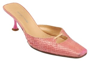 Sergio Rossi Snakeskin Pointed Toe Cut-out Kitten Heel Pink Mules