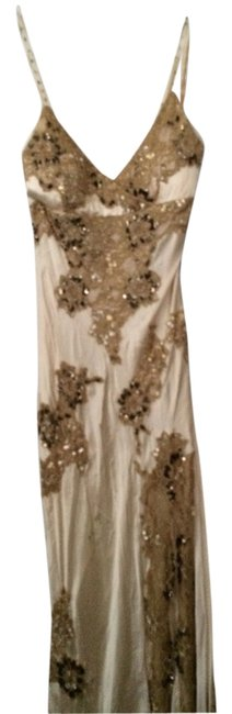 Item - Cream and Grey and Metallic Beaded Formal Dress Size 4 (S)
