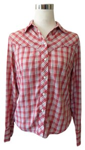 Lucky Brand Plaid Western Button Down Shirt Red