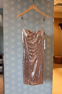 Nicole Miller Gold Bp0881 Formal Bridesmaid/Mob Dress Size 6 (S)