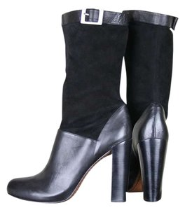 Rachel Zoe Leather Platform Suede Slouch Stacked Leather Heel Mid-calf Black Boots