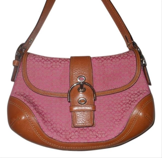 Coach Pink with Brown Trim Cloth Leather Clutch Coach Pink with Brown Trim Cloth Leather Clutch Image 1
