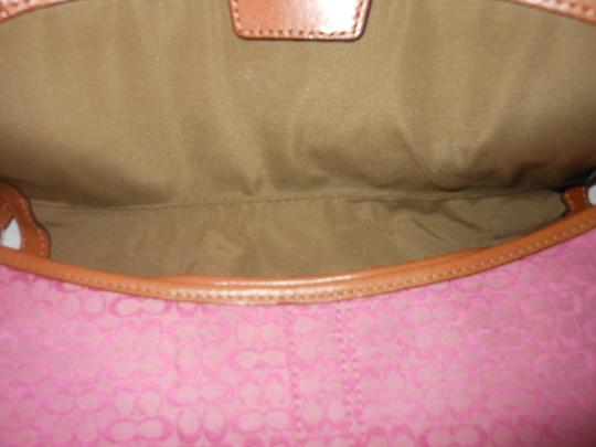 Coach Pink with brown trim Clutch