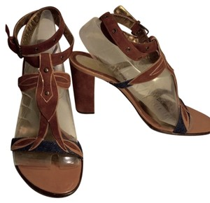 Dolce&Gabbana Dolce & Gabbana Heels Leather Suede Ankle Strap Chunky Heel Patent Leather Pony Brown & Denim Sandals