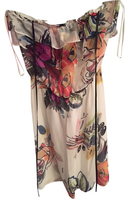 Arden B. short dress White with Colorful Pattern Strapless Summer Flowy on Tradesy