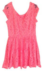B. Darlin short dress Coral Lace Zipper Exposed Zipper on Tradesy