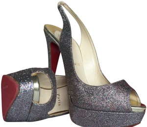 Christian Louboutin Peep Toe Slingback Multi Metallic Glitter Pumps