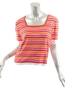 Sonia Rykiel Stripe Orange Cotton T Shirt Orange Stripe