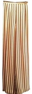 Saks Fifth Avenue Wide Leg Pants Toffee/Creme Striped