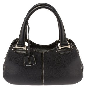 Tod's Leather White Stitching Satchel in Black