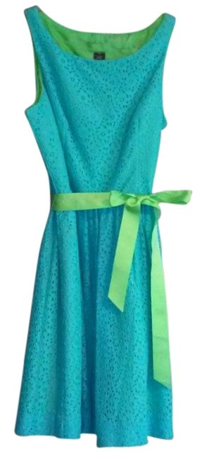 Item - Blue & Green New Without Tags Eyelet Sundress Above Knee Short Casual Dress Size 14 (L)