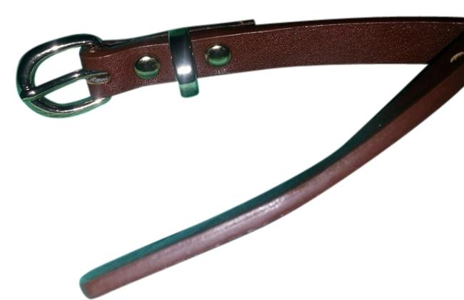 Brown Leather Genuine with Brass Buckle Belt Brown Leather Genuine with Brass Buckle Belt Image 1