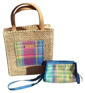Ralph Lauren Plaid Straw Satchel in pink