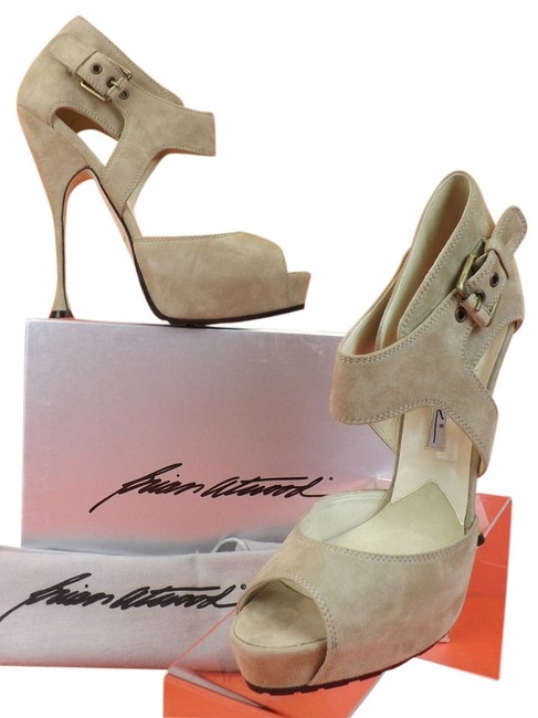 Brian Atwood Grey Collins Taupe Suede Belted Buckle Platform 40 Pumps Size US 10 Regular (M, B) Brian Atwood Grey Collins Taupe Suede Belted Buckle Platform 40 Pumps Size US 10 Regular (M, B) Image 1