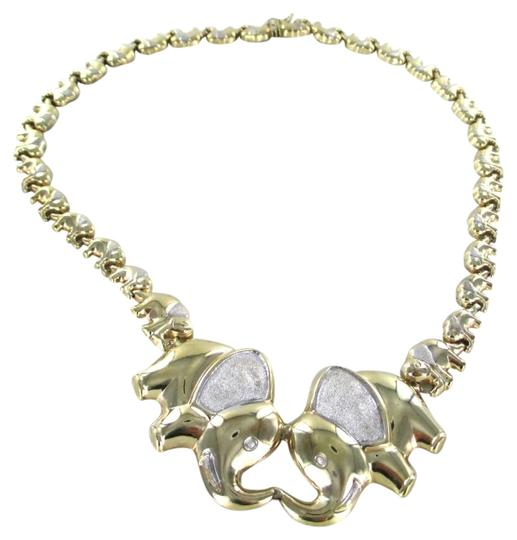 Other 10K YELLOW GOLD NECKLACE ELEPHANT GOOD LUCK ELEPHANTS 34.3 GRAMS AS DESIGNER