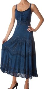 Navy Blue Maxi Dress by Sakkas Stonewashed Rayon Embroidered Adjustable Spaghetti Straps