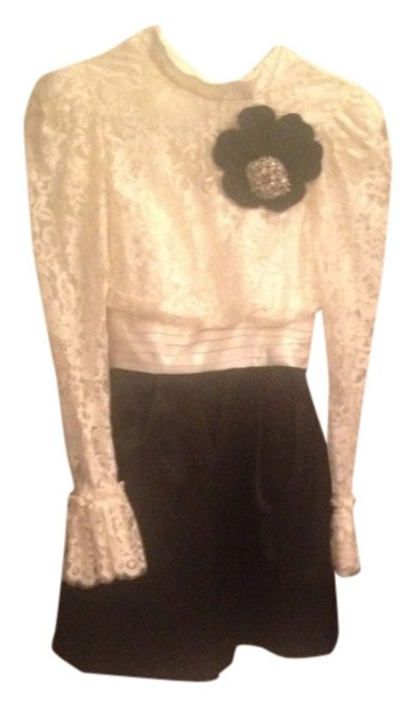 Item - Black and Cream Party Mini Cocktail Dress Size 0 (XS)