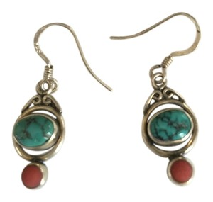 Sterling Silver Blue and Orange Turquoise Earrings