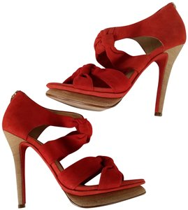 Alexandre Birman Suede Heels Knotted Red Platforms