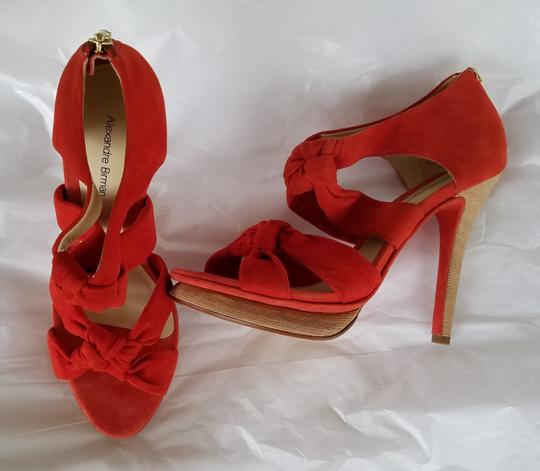 Alexandre Birman Suede Heels Knotted Red Platforms Image 2