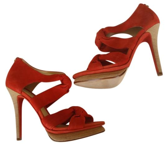 Alexandre Birman Suede Heels Knotted Red Platforms Image 0