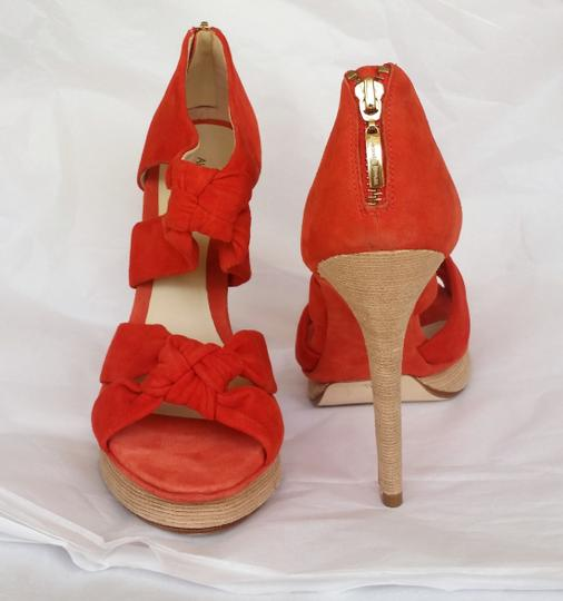 Alexandre Birman Suede Heels Knotted Red Platforms Image 1