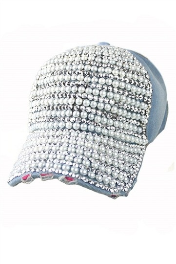 Other Retro Chic Boho Bling Rhinestone Crystal Pearl Accent Distressed Blue Jeans Dressy Baseball Cap Hat