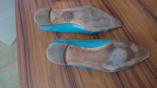 Manolo Blahnik White Patent Leather Pointy Toe Blue Turquoise Flats
