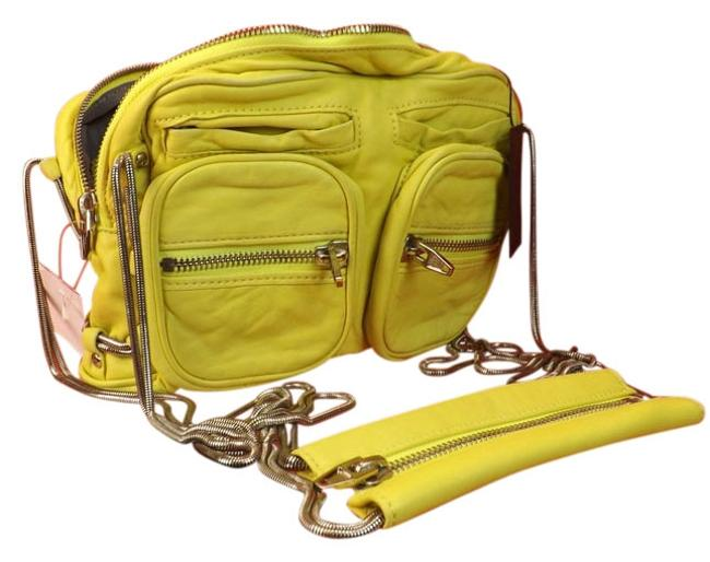 Alexander Wang Citrus Brenda Zip Chain Yellow Leather Cross Body Bag Alexander Wang Citrus Brenda Zip Chain Yellow Leather Cross Body Bag Image 1