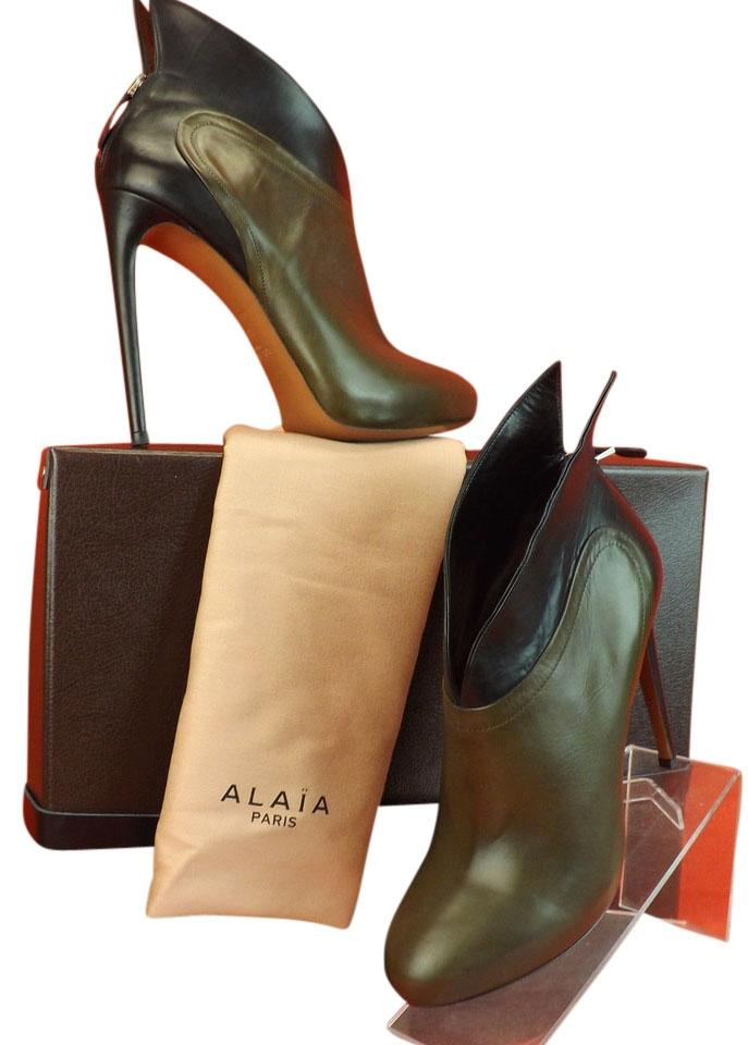 ALA?A Khaki/Black Two Tone Zip Leather Winged Wings Platform Zip Tone Ankle 9.5 Boots/Booties 0d7f7e