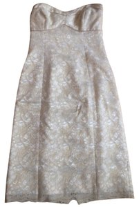Shoshanna Strapless Gold Cream Lace Dress