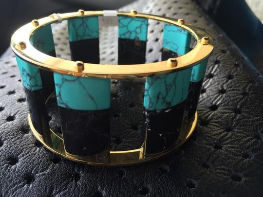 Lele Sadoughi Gold Black And Turquoise Bracelet