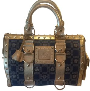 Versace Satchel in Blue and Gold