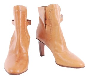 See by Chloé Leather Metal Cuff Metallic Hardware Camel Boots